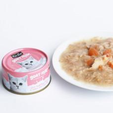 補水量upup! 貓咪超愛 山羊奶湯罐 鮪魚+鮭魚(24入) 70公克 (整箱罐罐) (貓副食罐)