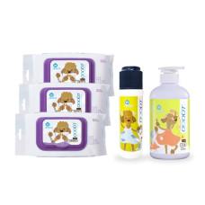 【身體清潔】乾洗粉+洗毛精+濕紙巾X3