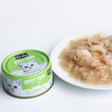 補水量upup! 貓咪超愛 山羊奶湯罐 鮪魚+蝦蝦(24入) 70公克 (整箱罐罐) (貓副食罐)