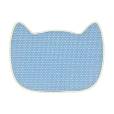 生活良品 貓型防落砂踏墊 (冰川藍)