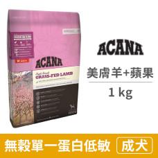 (即期)無穀單一蛋白低敏 美膚羊肉歐肯納根蘋果 1公斤 (狗飼料) (效期2021.10.01)