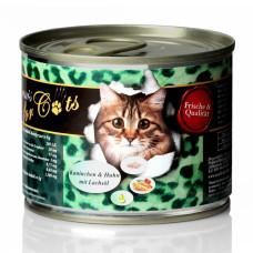 純天然頂級貓罐200克【雞肉兔肉+鮭魚油】(12入)(貓主食罐頭)(整箱罐罐)