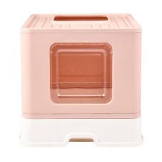 折疊貓砂盆 粉色(48x40x38公分)