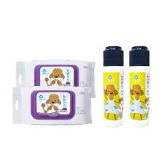 【身體清潔】乾洗粉X2+濕紙巾X2