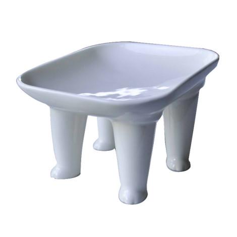 陶瓷寵物腳腳碗 白貓,bd_新品_20210421,CSS_新品